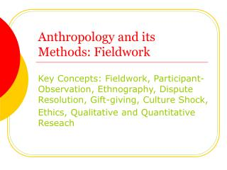 Human studies and its Methods: Fieldwork