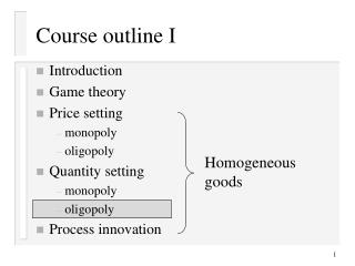 Course diagram I