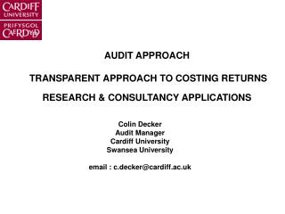 Review APPROACH TRANSPARENT APPROACH TO COSTING RETURNS RESEARCH CONSULTANCY APPLICATIONS