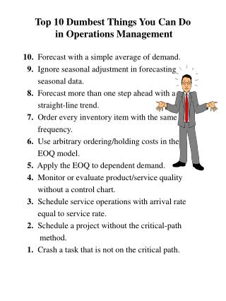 Main 10 Dumbest Things You Can Do in Operations Management