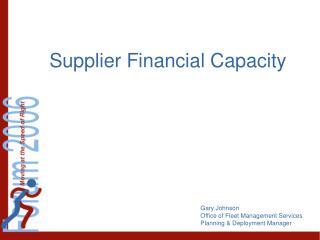 Supplier Financial Capacity