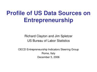 Profile of US Data Sources on Entrepreneurship