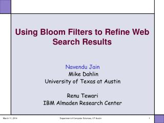 Utilizing Bloom Filters to Refine Web Search Results