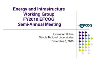 Vitality and Infrastructure Working Group FY2010 EFCOG Semi-Annual Meeting