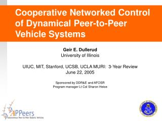 Helpful Networked Control of Dynamical Peer-to-Peer Vehicle Systems