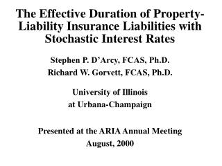 The Effective Duration of Property-Liability Insurance Liabilities with Stochastic Interest Rates