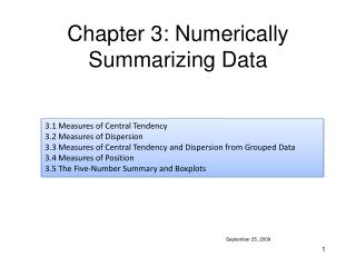 Part 3: Numerically Summarizing Data