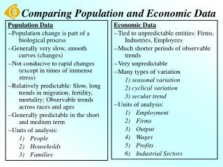 Looking at Population and Economic Data