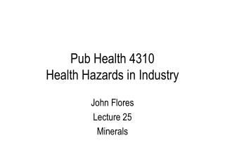 Bar Health 4310 Health Hazards in Industry