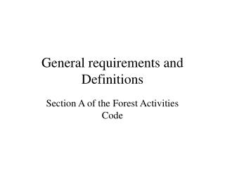 General necessities and Definitions