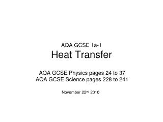 AQA GCSE 1a-1 Heat Transfer