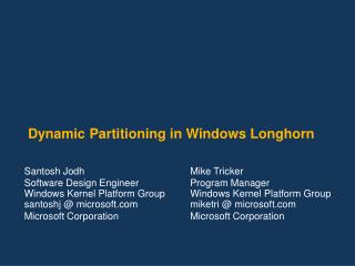 Element Partitioning in Windows Longhorn