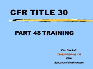 CFR TITLE 30