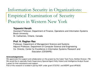 Data Security in Organizations: Empirical Examination of Security Practices in Western New York