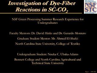 Examination of Dye-Fiber Reactions in SC-CO2