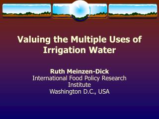 Esteeming the Multiple Uses of Irrigation Water