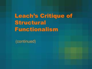 Filter s Critique of Structural Functionalism