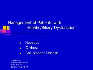 Administration of Patients with Hepatic