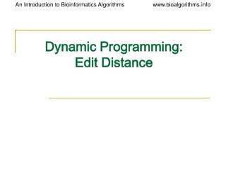 Element Programming: Edit Distance