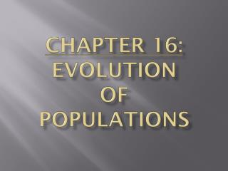 Part 16: Evolution of Populations