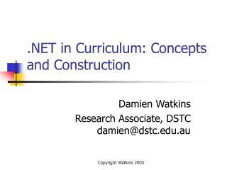 in Curriculum: Concepts and Construction