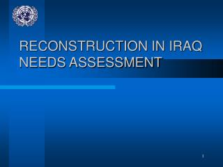 Remaking IN IRAQ NEEDS ASSESSMENT