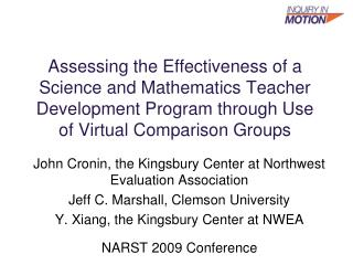 Surveying the Effectiveness of a Science and Mathematics Teacher Development Program through Use of Virtual Comparison