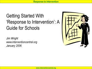 Beginning With Response to Intervention : A Guide for Schools Jim Wright interventioncentral January 2006