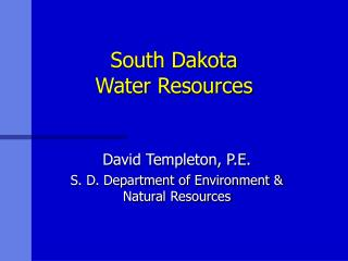 South Dakota Water Resources