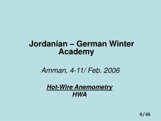Jordanian German Winter Academy Amman, 4-11
