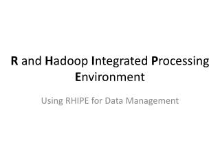 R and Hadoop Integrated Processing Environment