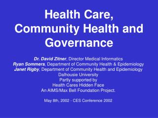 Medicinal services, Community Health and Governance