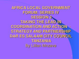 AFRICA LOCAL GOVERNMENT FORUM: SERIES IV SESSION 3 TAKING THE LEAD IN COORDINATION AND ACTION : STRATEGY AND PARTNERS
