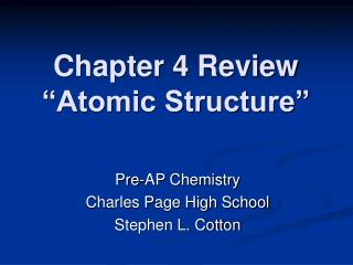 Part 4 Review Atomic Structure