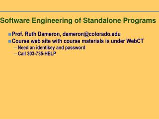 Programming Engineering of Standalone Programs